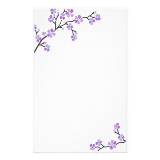 Purple Cherry Blossom stationery