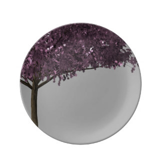 Purple Cherry Blossom Tree Silver Grey Background Porcelain Plates