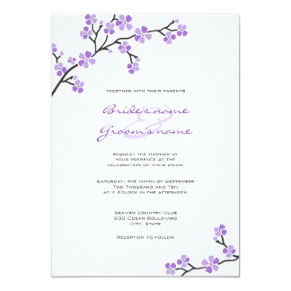 "Purple Cherry Blossom Wedding Invitations 5"" X 7"" Invitation Card"