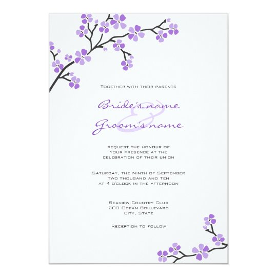 Purple Cherry Blossom Wedding Invitations