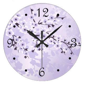 Purple  Cherry Blossoms Floral Large Clock