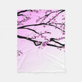 Purple Cherry Flower Sakura Fleece Blanket
