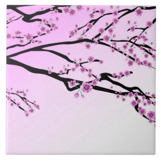 Purple Cherry Flower Sakura Large Square Tile