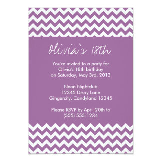 Purple Chevron Birthday Invitation