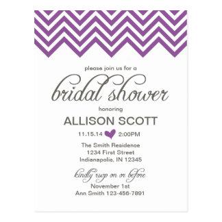 Purple Chevron Bridal Shower Postcard