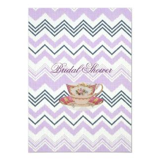 """purple chevron Bridal Shower Tea Party Invitation 5"""" X 7"""" Invitation Card"""