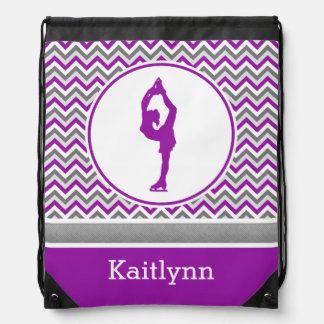 Purple Chevron Figure Skater Personalized Backpack