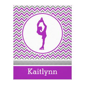 Purple Chevron Figure Skater Personalized Canvas Stretched Canvas Print