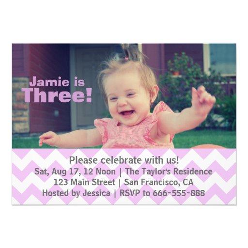 Purple Chevron Girl Birthday, Third Birthday Announcements