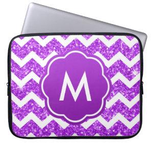Purple Chevron Glitter Monogram Laptop Sleeve