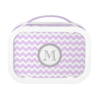 Purple Chevron Grey Monogram Custom Lunch Box