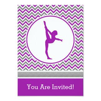 Purple Chevron Gymnast Party Invitation