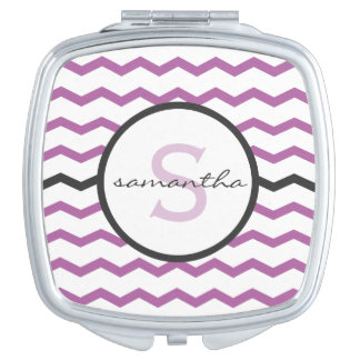 Purple Chevron Monogram Mirror For Makeup