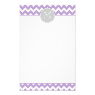 Purple Chevron Monogram Stationery