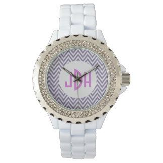Purple Chevron Monogram White Enamel Watch