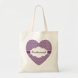 Purple Chevron Monograms Heart Purple Ribbon A06H Tote Bag