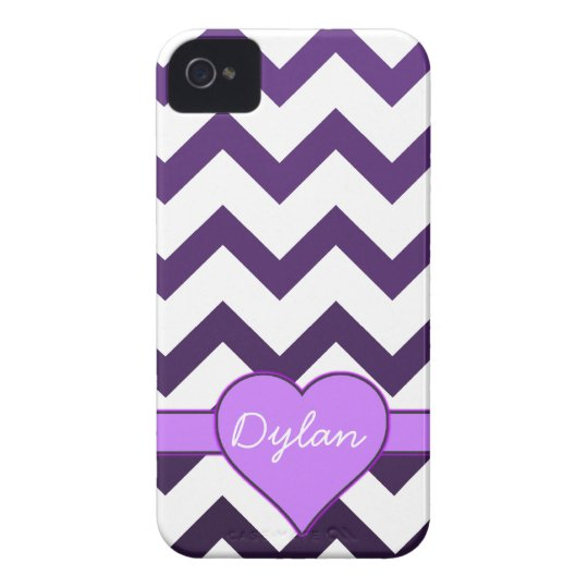 Purple Chevron Ombre Custom Name Heart iPhone 4 Case-Mate Cases