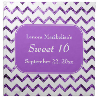 Purple Chevron Pattern Sweet 16 Napkin