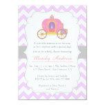 Purple Chevron Princess Carriage, Girl Baby Shower 11 Cm X 16 Cm Invitation Card