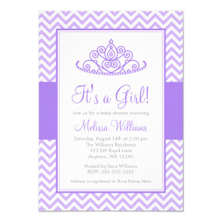 Purple Chevron Princess Crown Girl Baby Shower 4.5x6.25 Paper Invitation Card