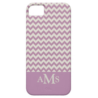 Purple Chevron Stripe 3  Monogram Barely There iPhone 5 Case