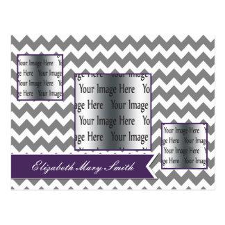 purple chevron stripes 3 photo Graduation Invites Postcard