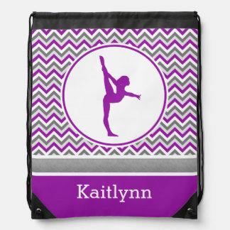 Purple Chevron Stripes Gymnastics w/ Monogram Drawstring Bag