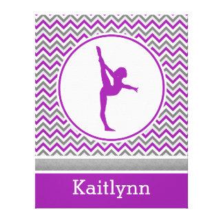 Purple Chevron Stripes Gymnastics w/ Monogram Stretched Canvas Prints