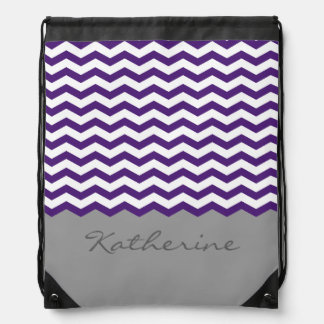 Purple Chevron Zigzag Monogram Drawstring Bag