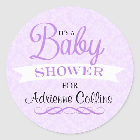 Purple Chic Damask Baby Shower Sticker