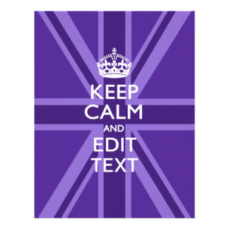 Purple Chic Keep Calm And Your Text Union Jack 21.5 Cm X 28 Cm Flyer
