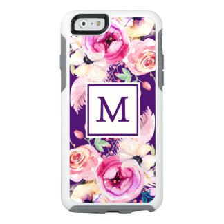 Purple Chic Monogram Floral Otter iPhone 6/6s Case