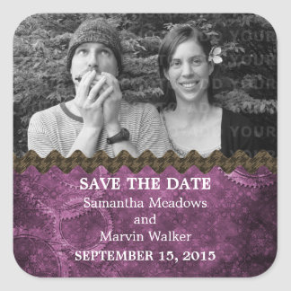Purple Chic Steampunk Photo Save the Date Stickers