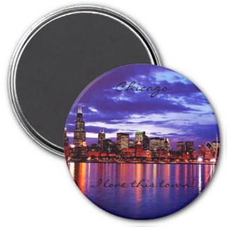 Purple CHicago 7.5 Cm Round Magnet