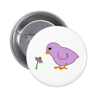 Purple Chick with Purple Coneflower 6 Cm Round Badge