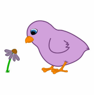 Purple Chick with Purple Coneflower Photo Sculpture Magnet