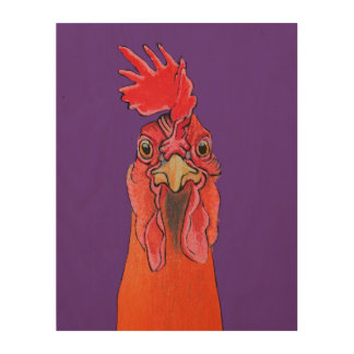 Purple Chicken Wood Canvases