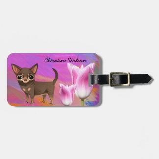 Purple Chihuahua Luggage Tag