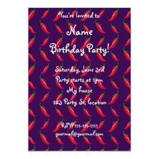 purple chili peppers pattern 13 cm x 18 cm invitation card