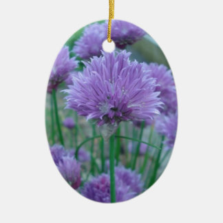 Purple chive flowers christmas ornament