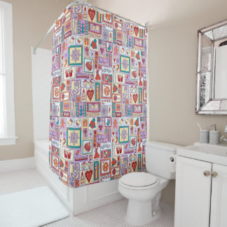 Purple Christmas Pattern Shower Curtain