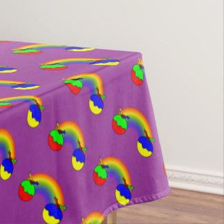 Purple Christmas Puddings And Rainbow Tablecloth