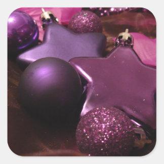 Purple Christmas Square Sticker