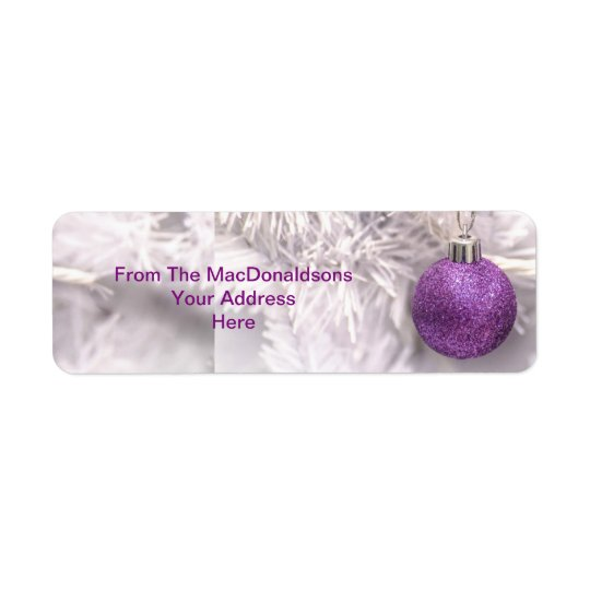 Purple Christmas tree bauble Return Address Label