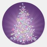 Purple Christmas Tree Classic Round Sticker