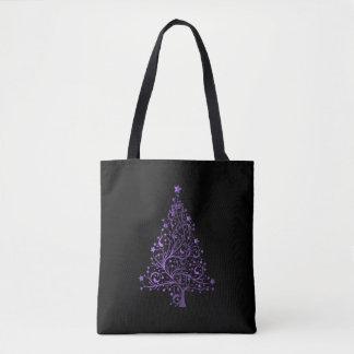 Purple Christmas Tree Elegant Holiday Season Black Tote Bag