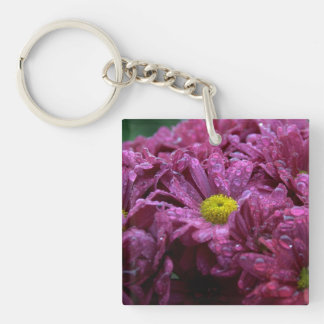 Purple Chrysanthemums with Raindrops Single-Sided Square Acrylic Key Ring