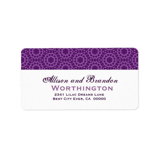 Purple Circle Flowers Wedding Template Address Label