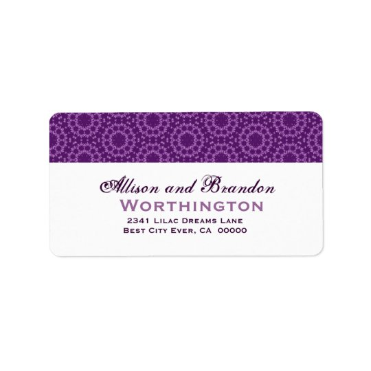 Purple Circle Flowers Wedding Template Label