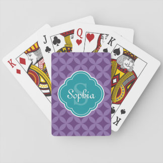 Purple Circle Leaf Pattern Teal Monogram Playing Cards